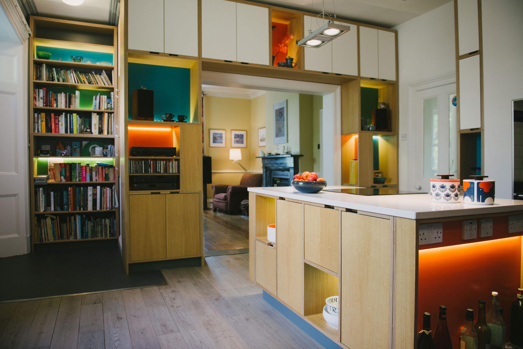 blue and orange kitchen