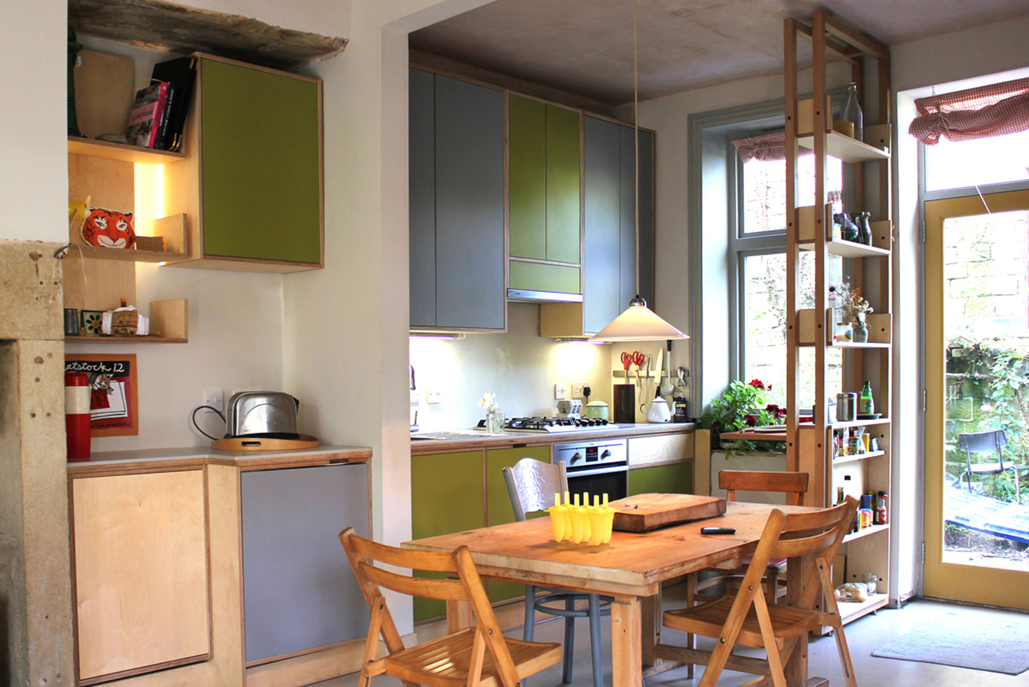 green and grey plywood kitchen