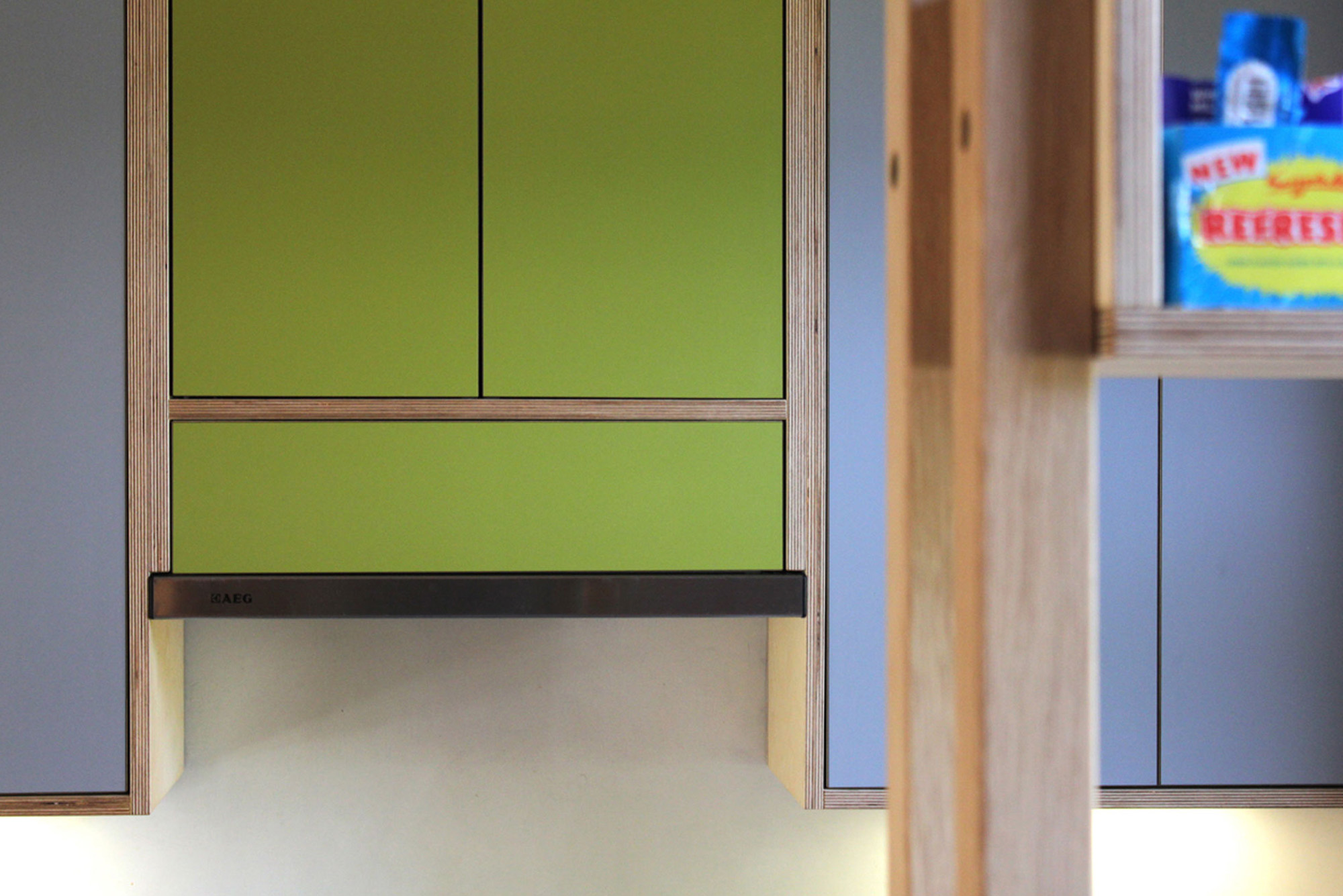 Green & grey kitchen extractor housing