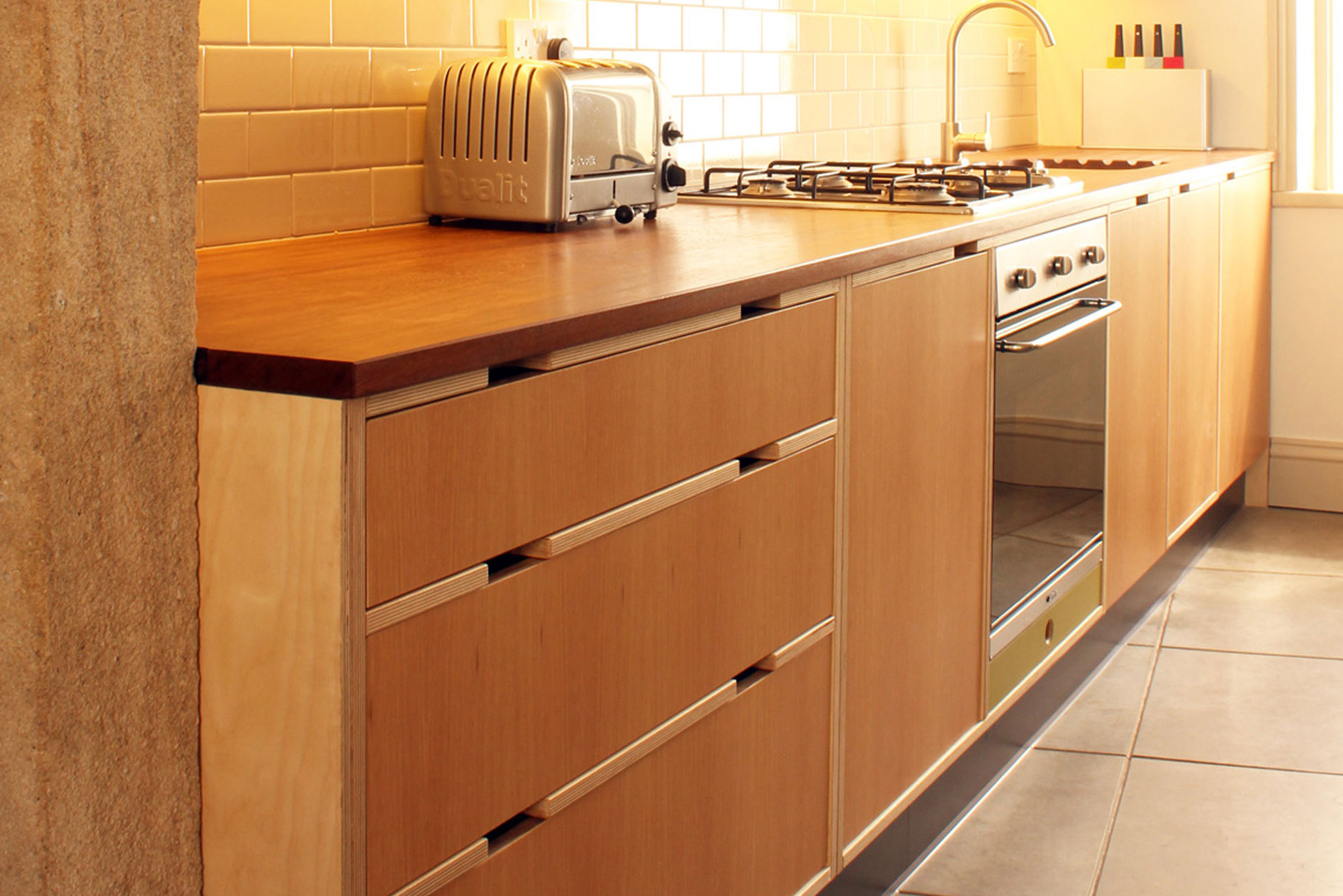 Oak veneer kitchen drawers