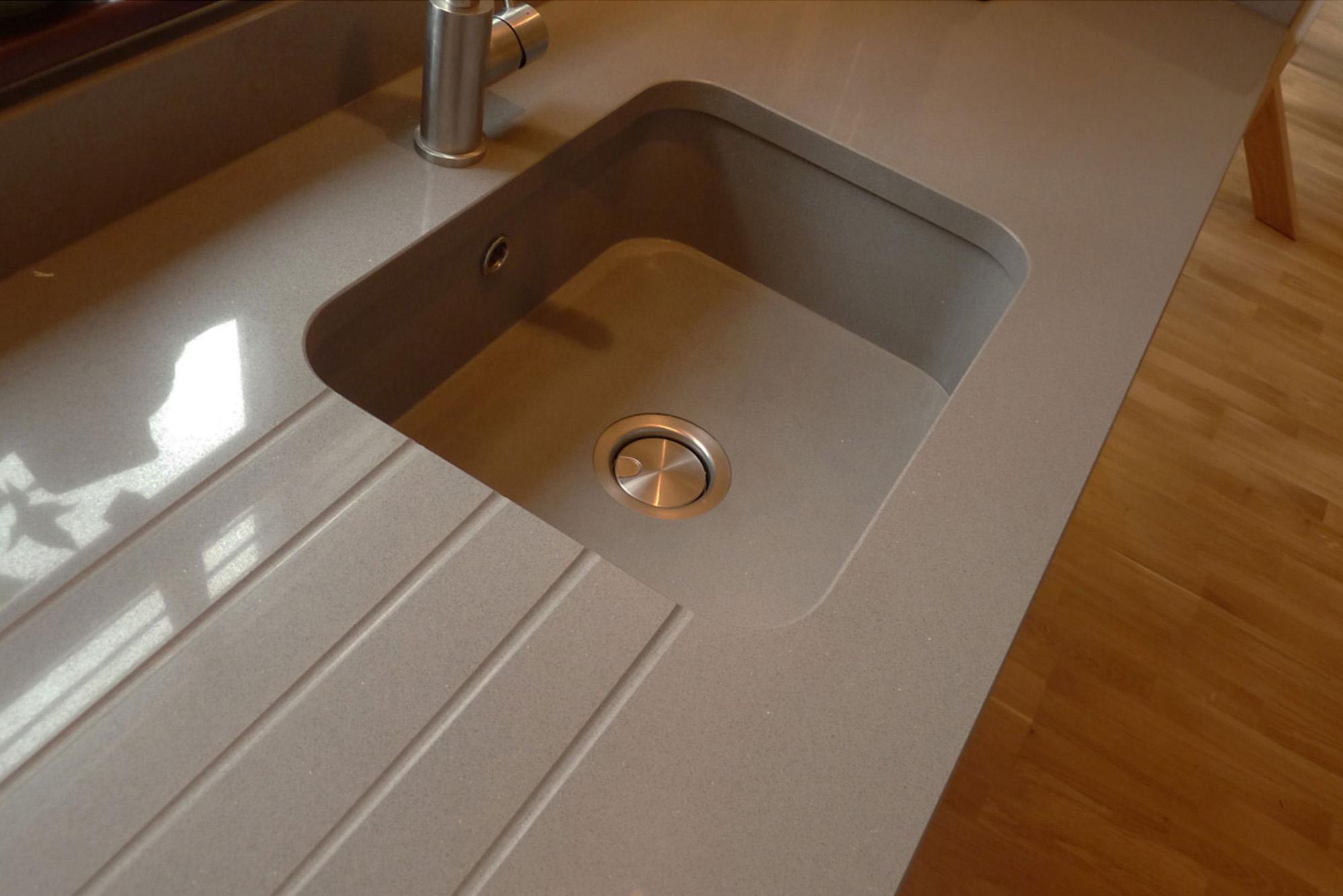 Grey Silestone sink