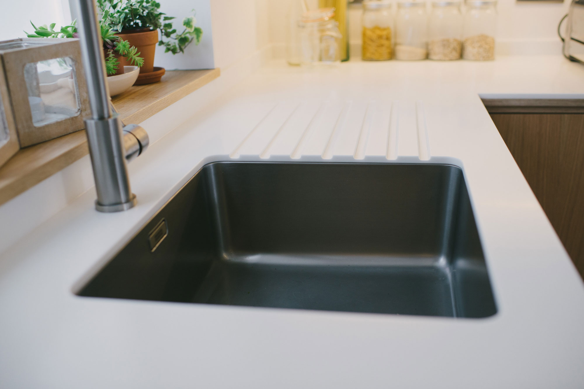 Corian worktop with stainless steel sink