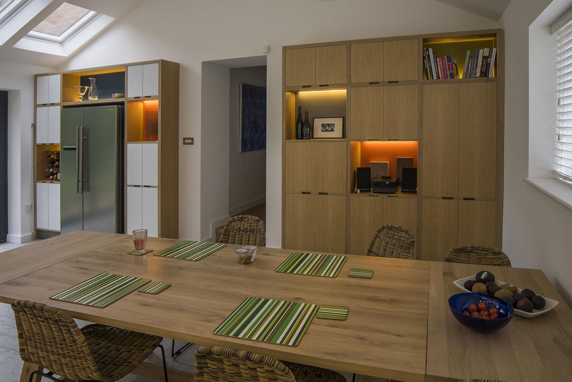 oak veneered kitchen dining table
