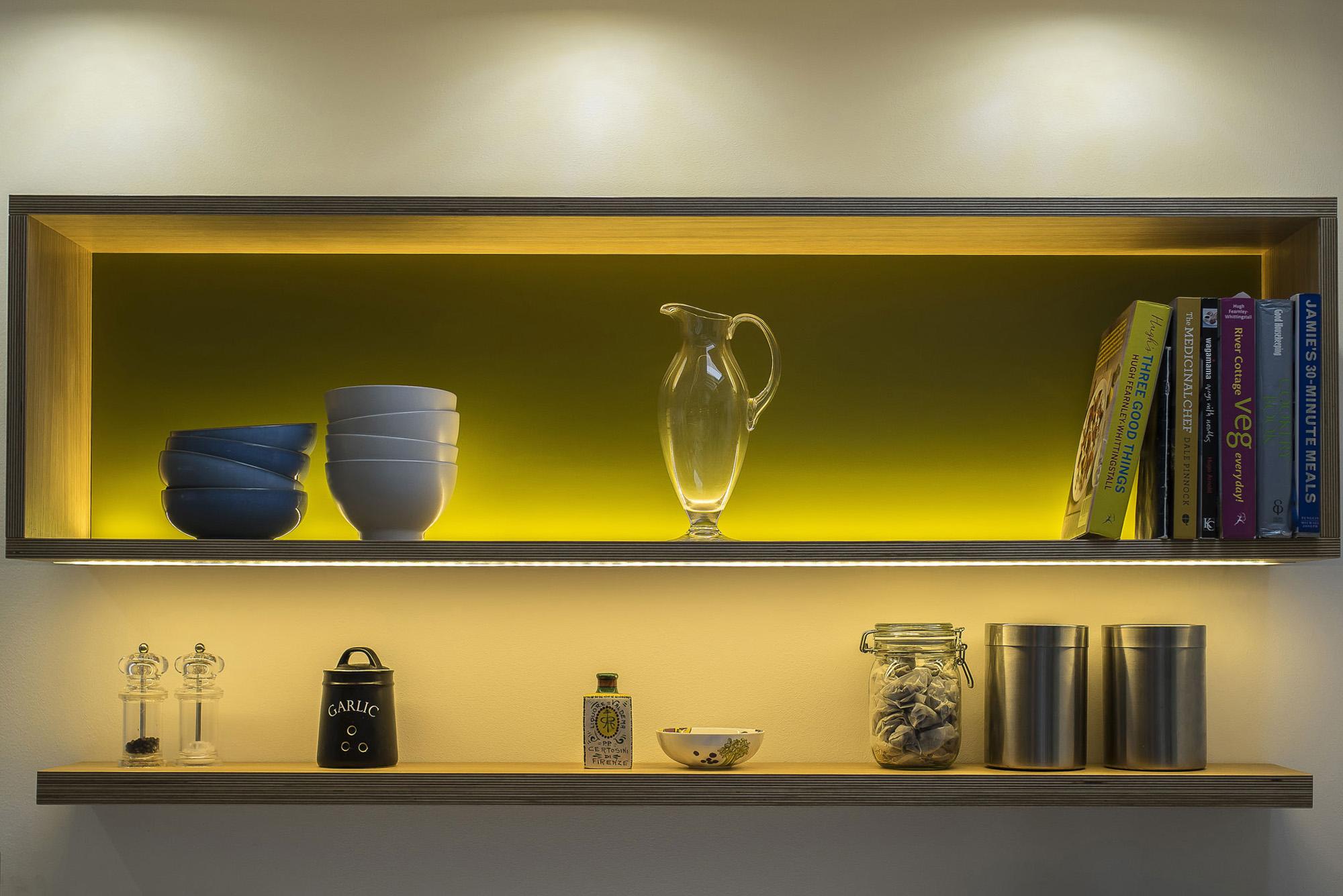 illuminated shelves