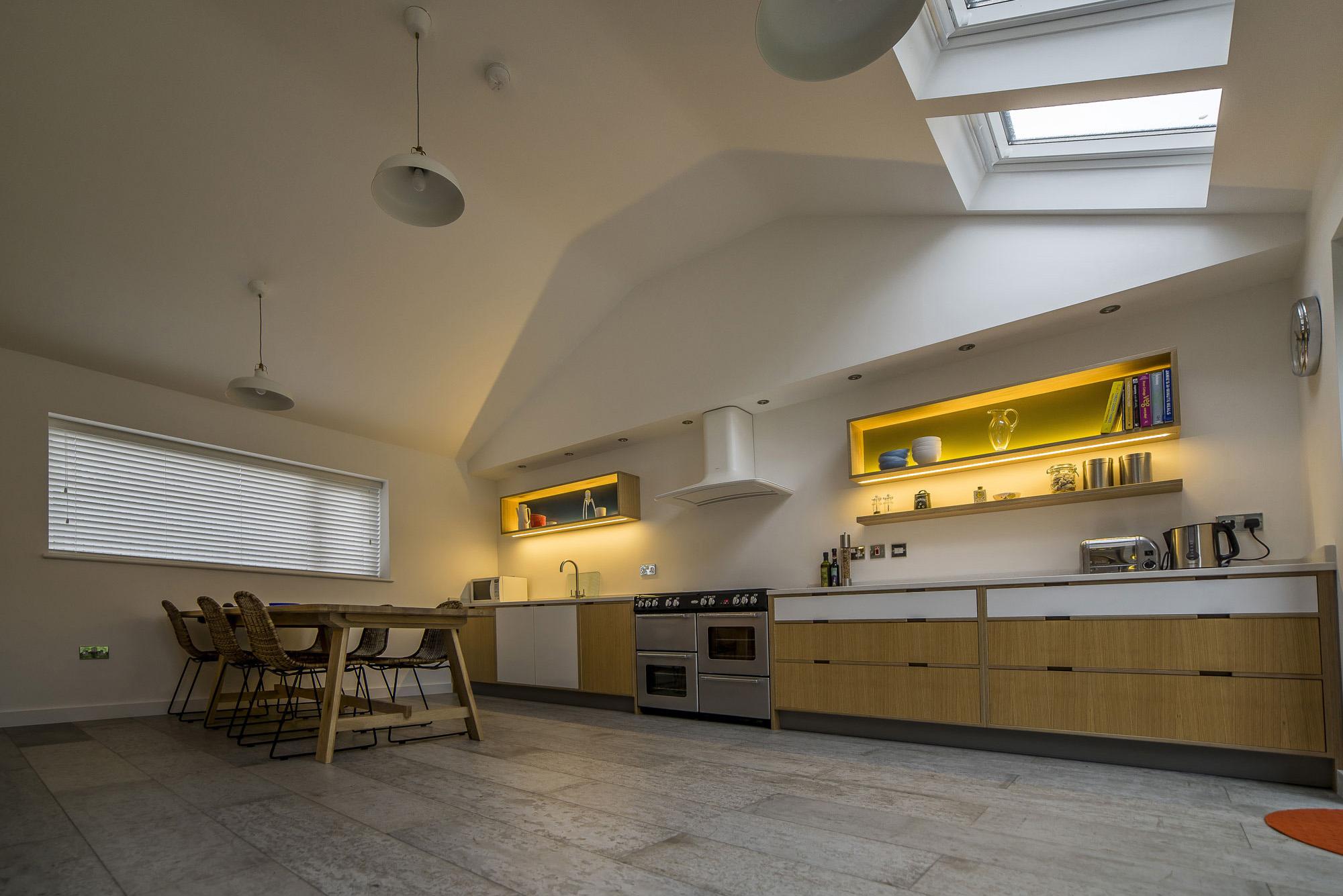 Oak veneered kitchen diner