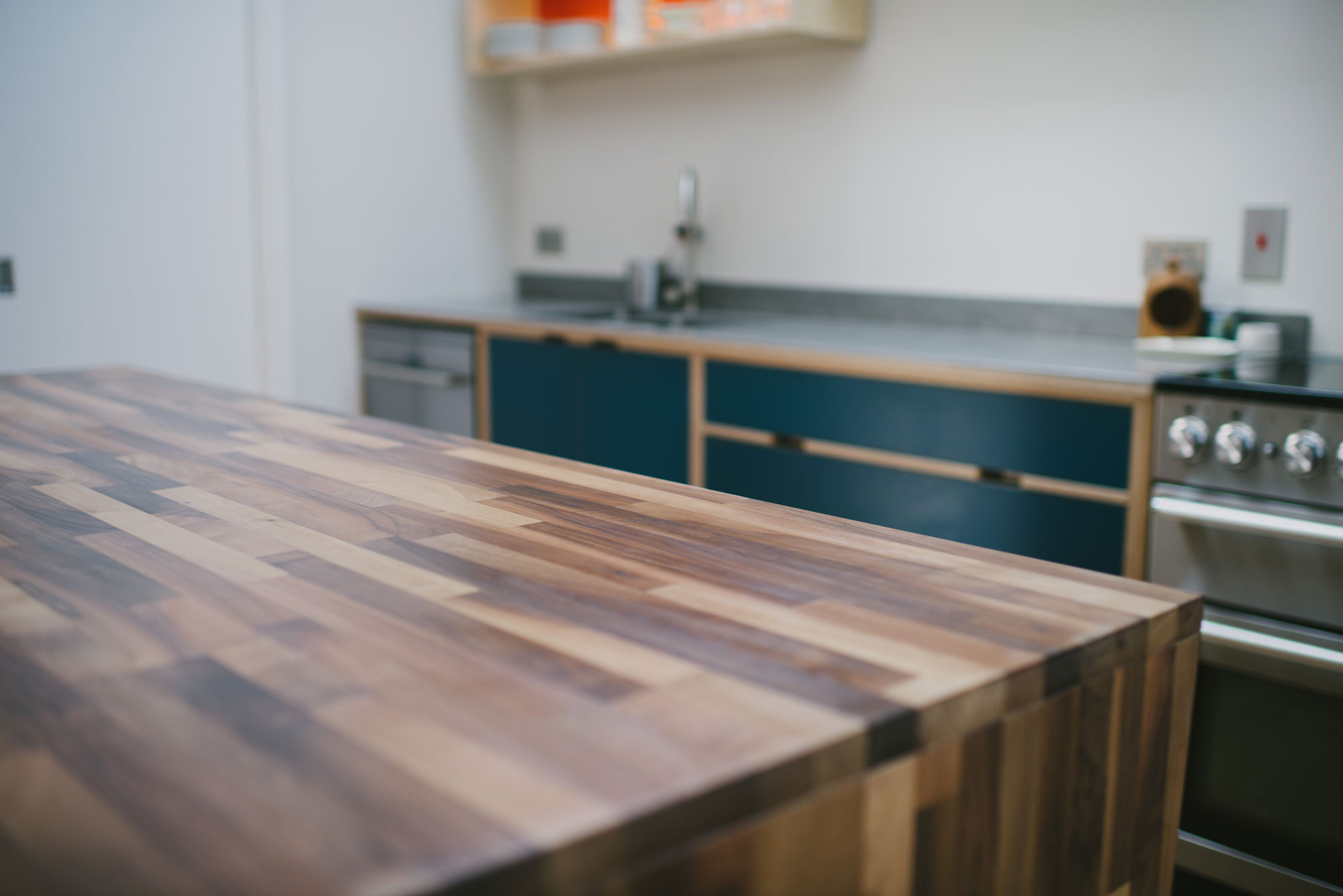 Close up of Walnut kitchen island