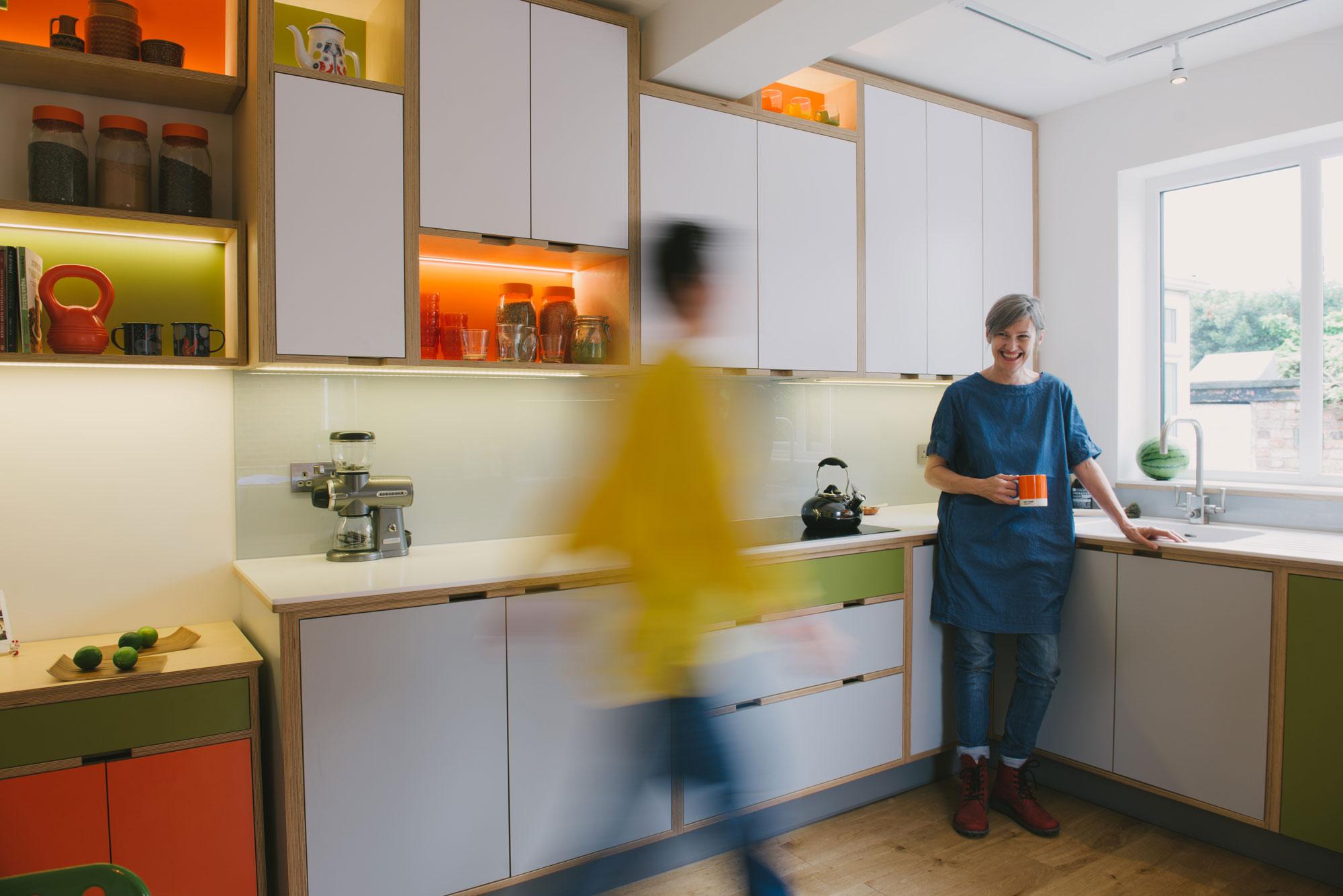 Orange & green kitchen