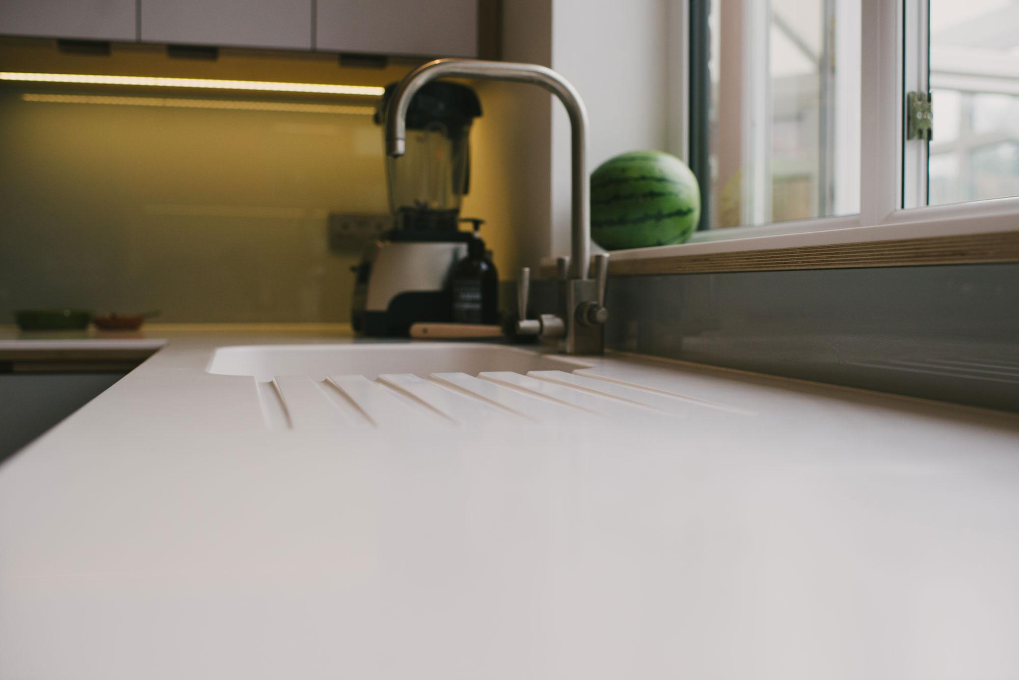 White Corian worktop