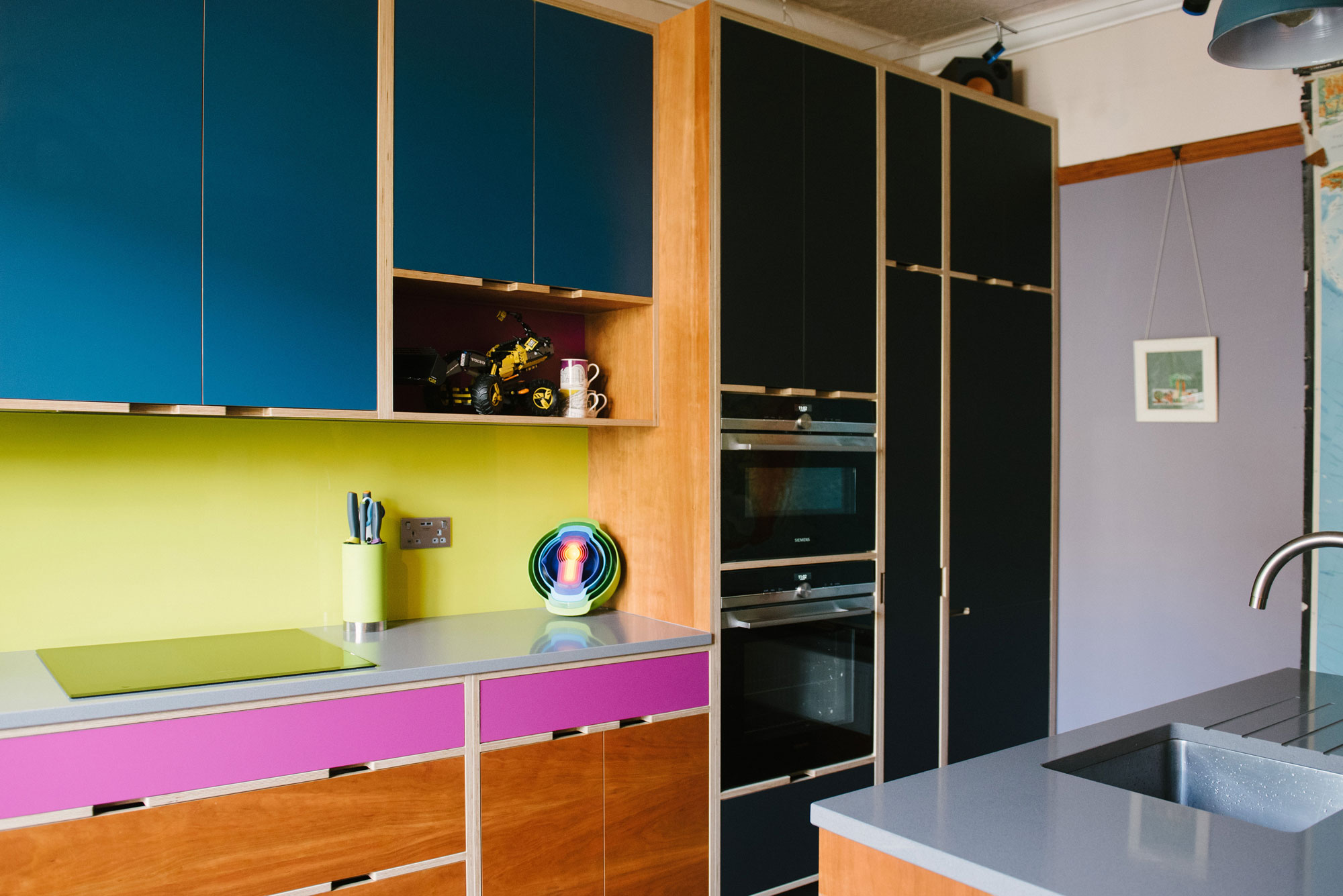 Plywood kitchens in Cherry and Pink
