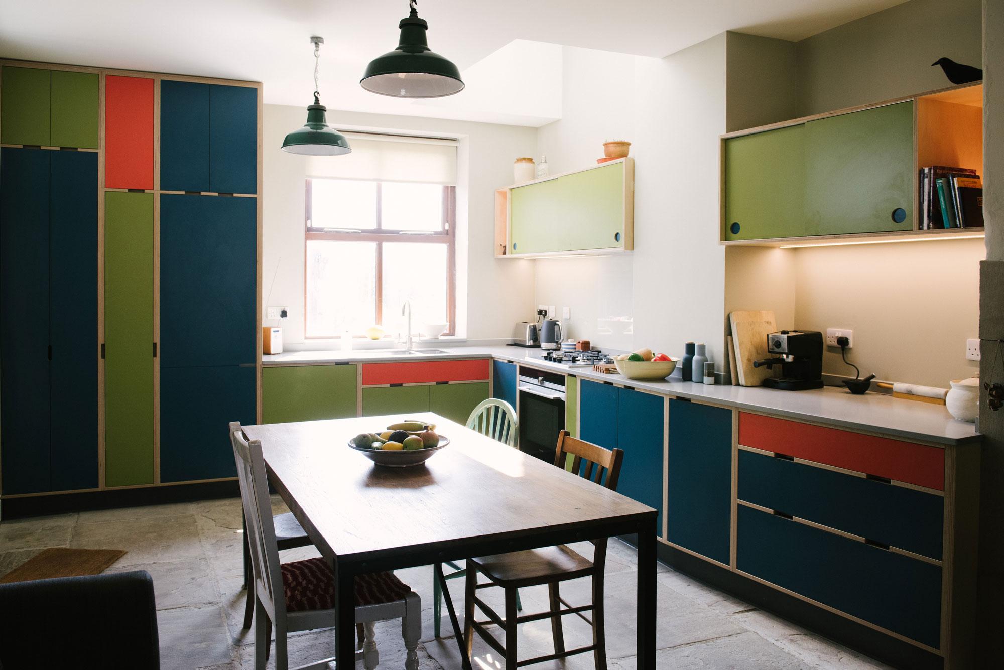 Green Orange & Blue Laminated Plywood Kitchen