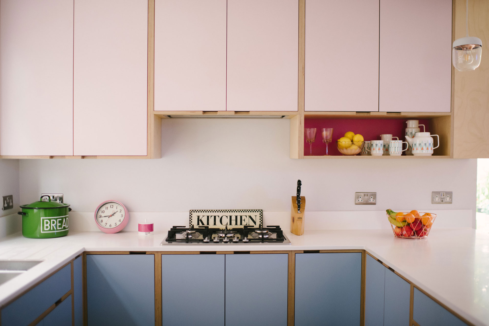 Pink and Blue Plywood Kitchen