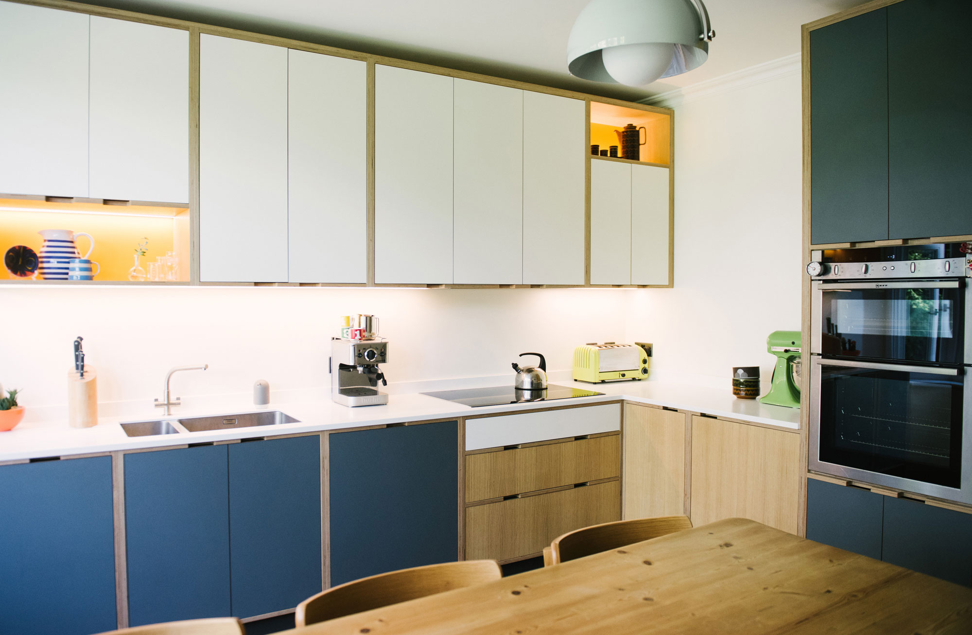 Plywood Kitchen - White-and-Blue-