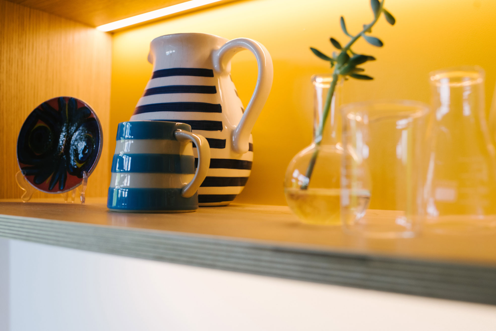 Blue and White Striped Jugs