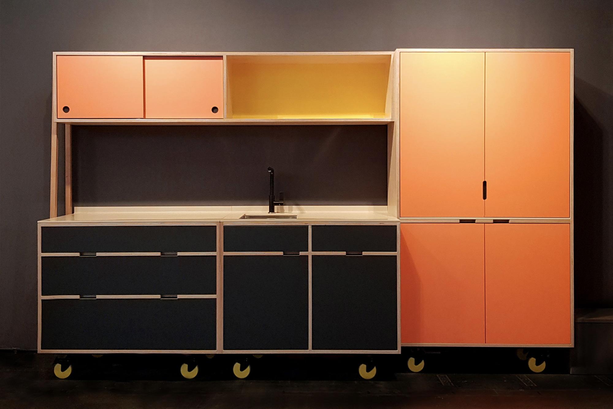 Plywood kitchen on wheels