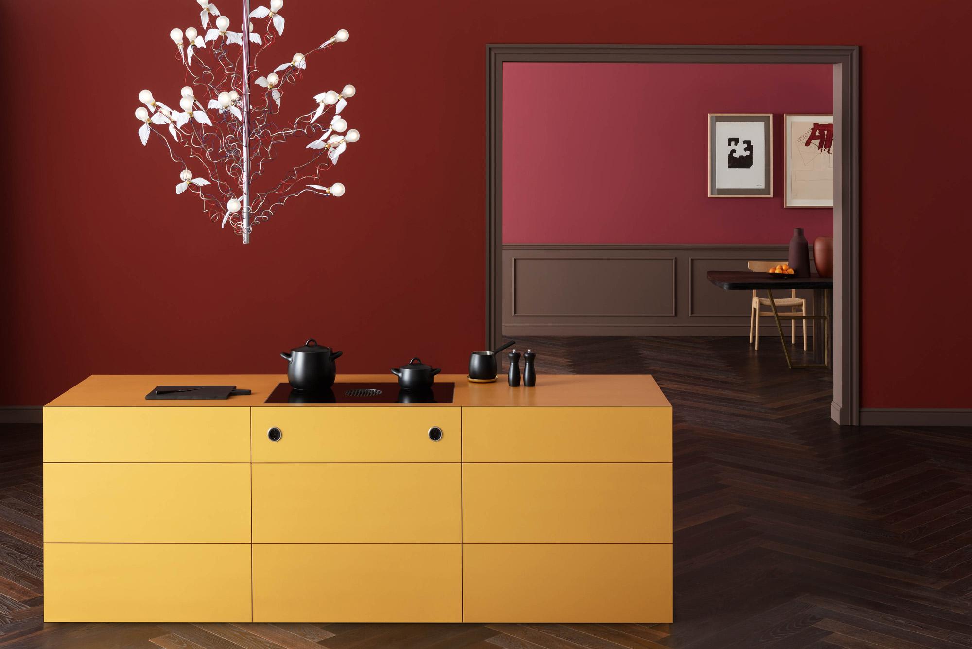 Bora Hob in yellow valchromat kitchen