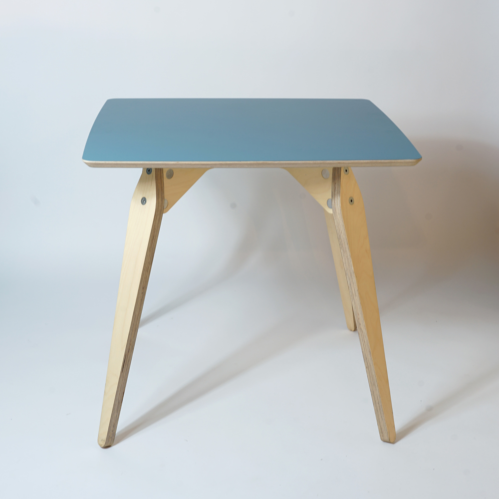 blue plywood dining table