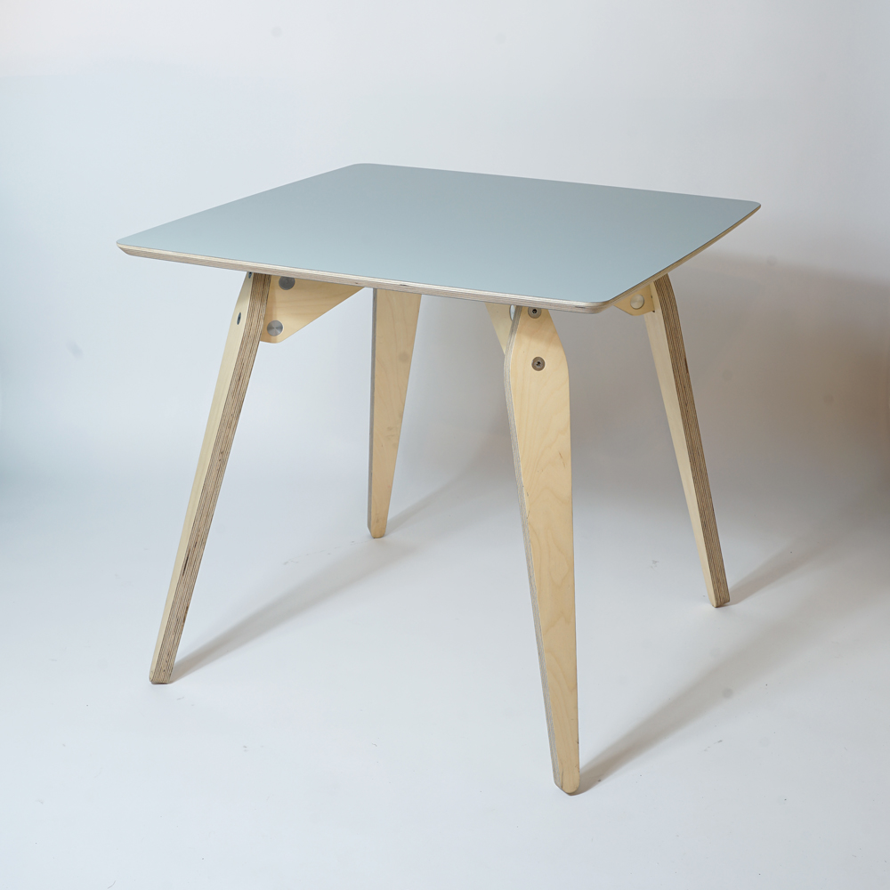 wood and wire plywood dining table