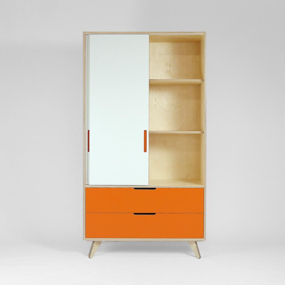 freestanding plywood wardrobe with sliding doors